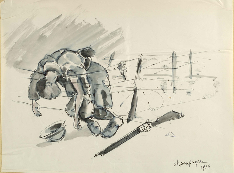 Part of a series of sketches of soldier's killed while crossing through wire-entanglements. Henry Camus.