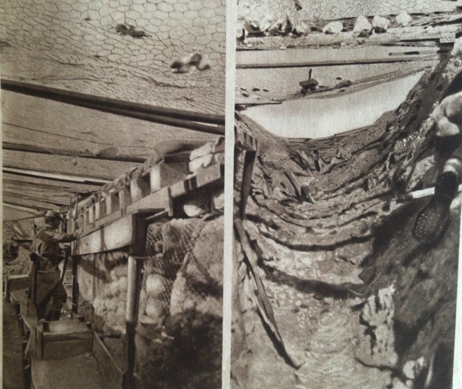 The photo on the left shows a trench in Champagne prior to a bombardment, while the one on the right shows the effects of shelling on the same trench. Note the chicken-wire erected to deflect enemy grenades.