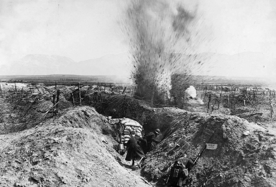 Zouaves react as a shell explodes near their trench at Fort de la Pompelle.