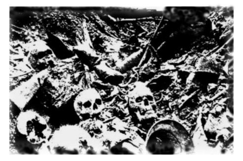 The skeletal remains of soldiers, their identities forever unknown, Verdun.