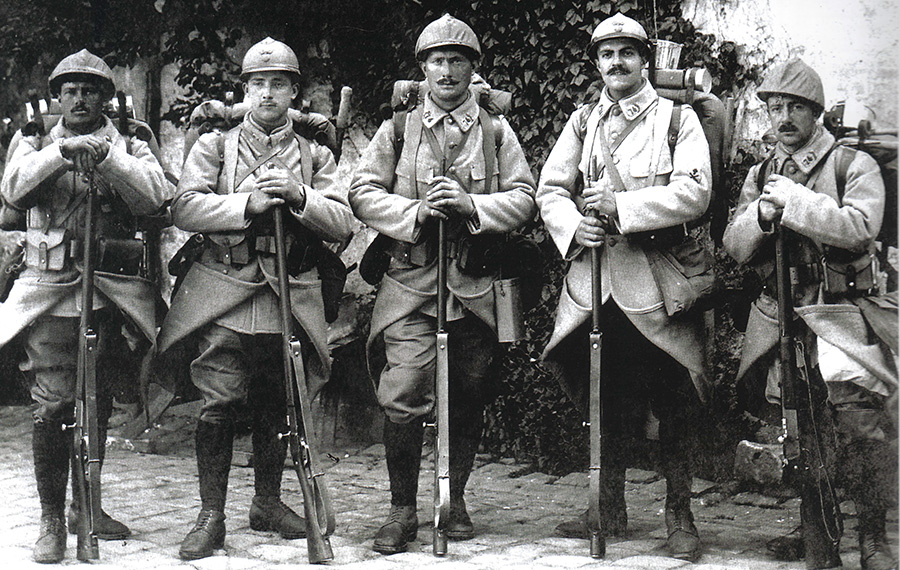 Five poilus of the 74th RI outfitted in new horizon-blue uniforms and helmet covers (early 1916).
