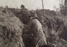 This photo gives a good idea of the early rudimentary trenches, which first appeared in the fall of 1914.