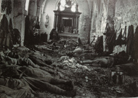 Soldiers sleeping in the ruined Saint-Martin church at Branges (Aisne). Photo taken by Frantz Adam, August 1918.