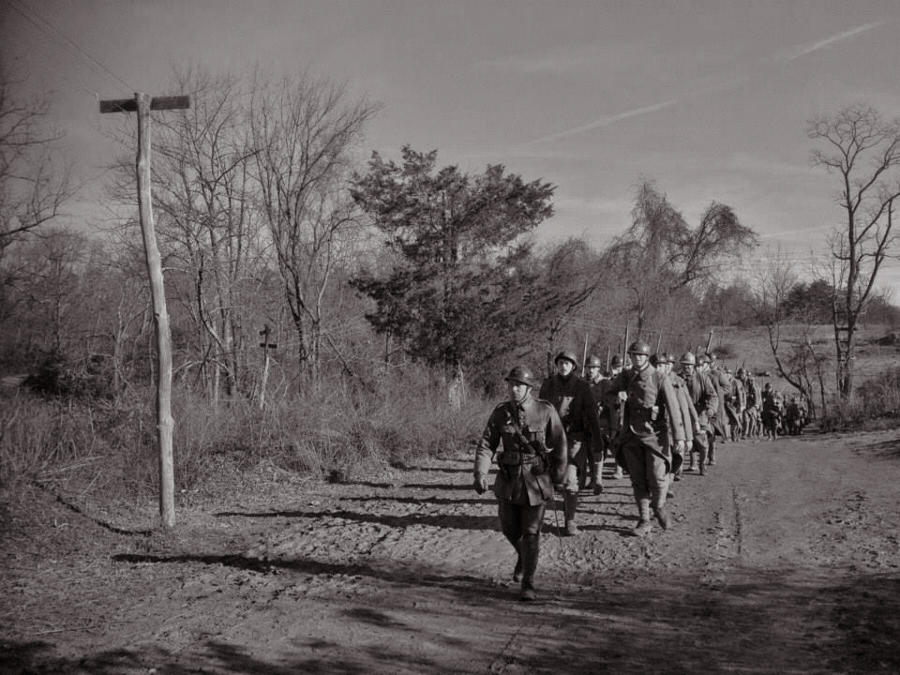 The Bataillon Francais marches up to the front, Nov. 2014.