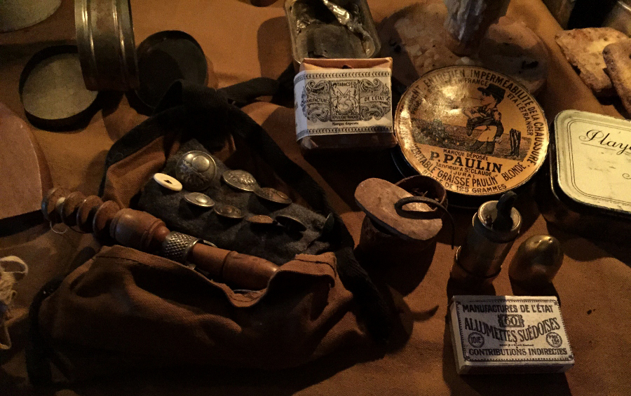 A display of original personal items of the soldier, Fort Mifflin 2015.