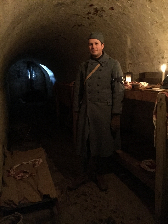 Sdt. Cardet of the 18e RI in the poste de secour, Fort Mifflin, March 2015.