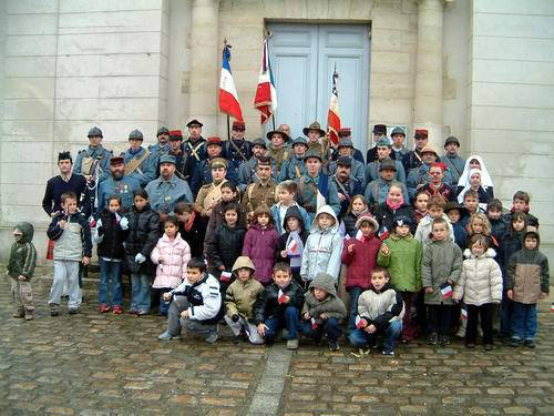 The Poilus de la Marne with the town-children, Remeberance Day ceremony at the town hall of Villeroy, France (Marne), November 11, 2004.