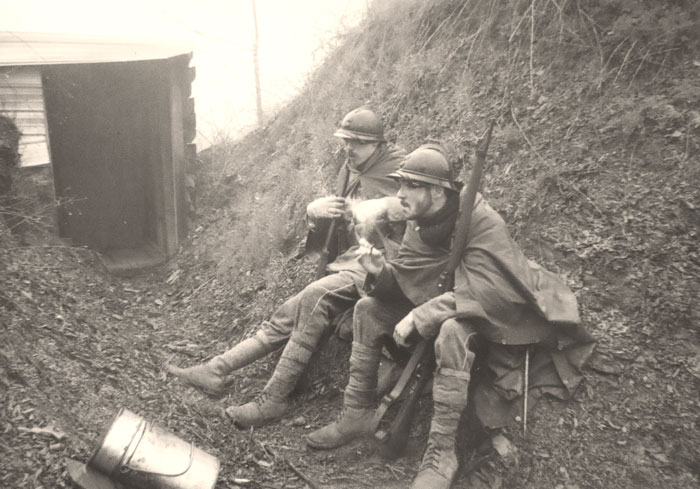Two poilus of the 18th R.I. have a sit in a conquered German trench, April 2011.