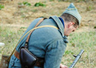 Sgt. Contamine works on the M15 automatic-rifle (Chauchat). Old Bethpage Restoration Village, NY, November 2013.