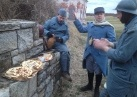 Sdt. Pernot's first-course of dinner is served: Pissaladière and pinard. Fort Mifflin, March 2013