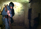 Sdt. Rouland in a subterranean passage at Fort Mifflin, March 2013.