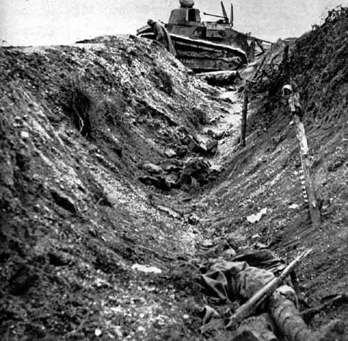 Destroyed Renault tank and dead French soldier.