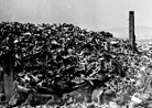 Piles of human remains collected just after the war for interment in the temporary ossuary at Douaumont, Verdun.